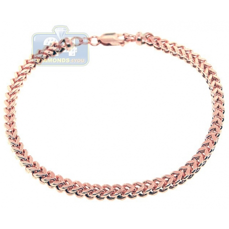 Real 10K Rose Gold Hollow Franco Link Mens Bracelet 5mm 9.5""