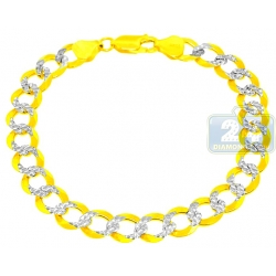 10K Two Tone Gold Curb Link Mens Bracelet 10 mm 8 Inches
