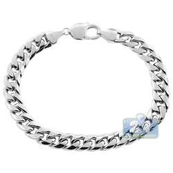 10K White Gold Hollow Miami Cuban Mens Bracelet 9 mm 9 Inches