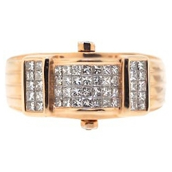14K Rose Gold 1 ct Princess Cut Invisible Set Diamond Mens Ring
