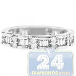 14K White Gold 0.99 ct Mixed Diamond Womens Band Ring