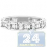 14K White Gold 0.99 ct Round Baguette Diamond Womens Band Ring
