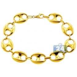 10K Yellow Gold Puff Mariner Anchor Mens Bracelet 14.5mm 8.75""