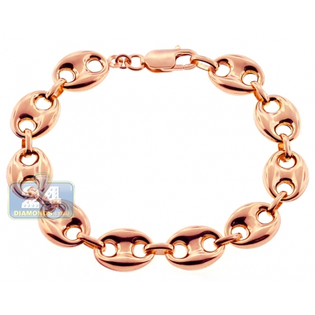 Real 10K Rose Gold Mariner Puff Link Mens Bracelet 12mm 8.25""