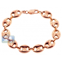 10K Rose Gold Mariner Puff Link Mens Bracelet 12 mm 8 1/4 Inches