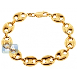 10K Yellow Gold Mariner Puff Link Mens Bracelet 12 mm 8 1/4 Inches