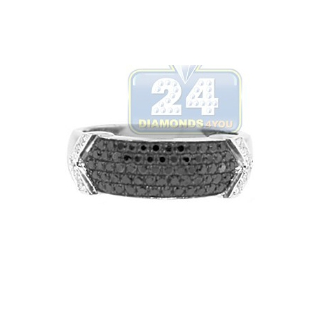 14K White Gold 0.58 ct Mixed Black Diamond Mens Band Ring