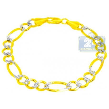"10K Two Tone Gold Figaro Diamond Cut Link Mens Bracelet 8mm 8.5"""