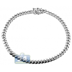 10K White Gold Solid Miami Cuban Mens Bracelet 5 mm 8 Inches
