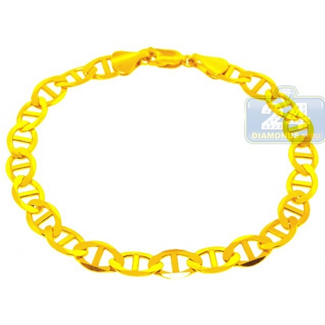 Solid 10K Yellow Gold Mariner Anchor Link Mens Bracelet 8mm 9""