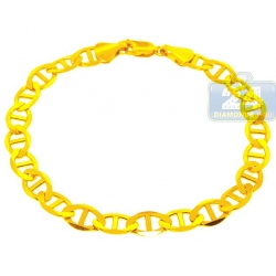 10K Yellow Gold Mariner Link Mens Bracelet 8 mm 9 Inches