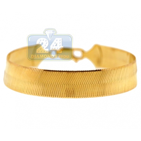10K Yellow Gold Flexible Herringbone Womens Bracelet 12mm 8.25""