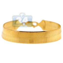 10K Yellow Gold Herringbone Womens Bracelet 12 mm 8 1/4 Inches