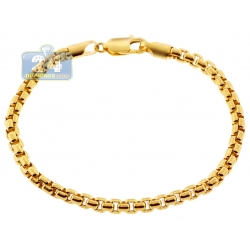 """Real 10K Yellow Gold Hollow Round Box Link Mens Bracelet 5mm 9"""""""