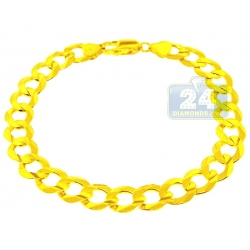 10K Yellow Gold Concave Curb Link Mens Bracelet 8 mm 9 Inches