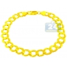 Solid 10K Yellow Gold Concave Curb Link Mens Bracelet 8mm 9""