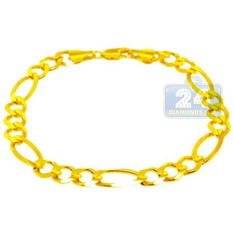 "Solid 10K Yellow Gold Figaro Cuban Link Mens Bracelet 8mm 8.5"""