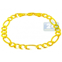 10K Yellow Gold Solid Figaro Link Mens Bracelet 8 mm 8 1/2 Inches