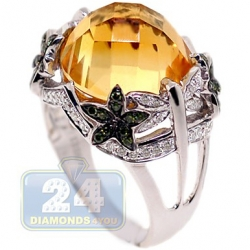 14K White Gold 8.75 ct Yellow Citrine Diamond Floral Cocktail Ring
