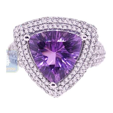 14K White Gold 4.89 ct Triagle Purple Amethyst Diamond Cocktail Ring