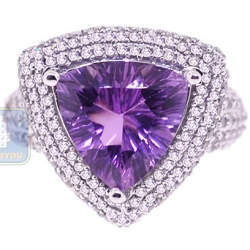 14K White Gold 4.89 ct Triagle Amethyst Diamond Cocktail Ring
