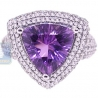 14K White Gold 4.89 ct Triagle Purple Amethyst Diamond Cocktail Ring