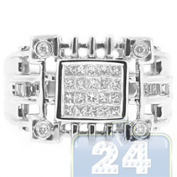 14K White Gold 0.62 ct Princess Diamond Mens Openwork Ring