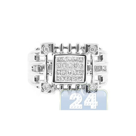 14K White Gold 0.62 ct Princess Cut Diamond Mens Openwork Ring