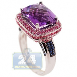 14K White Gold 5.13 ct Amethyst Sapphire Halo Cocktail Ring