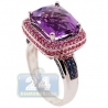 14K White Gold 5.13 ct Amethyst Sapphire Halo Womens Cocktail Ring