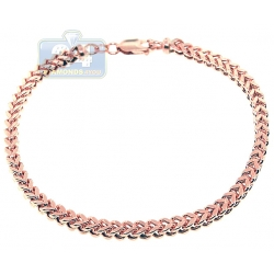 10K Rose Gold Franco Link Mens Bracelet 4 mm 9 Inches