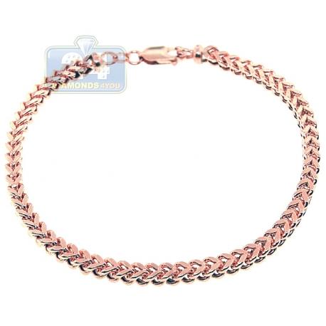"""Real 10K Rose Gold Franco Box Link Mens Wrist Bracelet 4mm 9"""""""