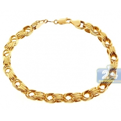 Italian 10K Yellow Gold Rolo Byzantine Mens Bracelet 6.5mm 9""