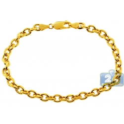 """Real 10K Yellow Gold Puff Oval Cable Mens Bracelet 5.5mm 8.75"""""""