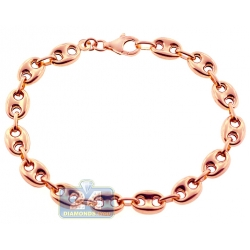 10K Rose Gold Puff Mariner Anchor Mens Bracelet 8 mm 8 Inches