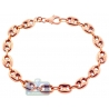 10K Rose Gold Puff Mariner Anchor Link Mens Bracelet 8mm 8""