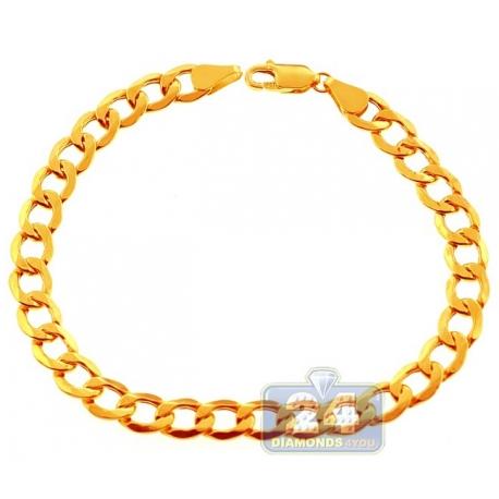 "Real 10K Yellow Gold Flat Cuban Hollow Link Mens Bracelet 6mm 8"""