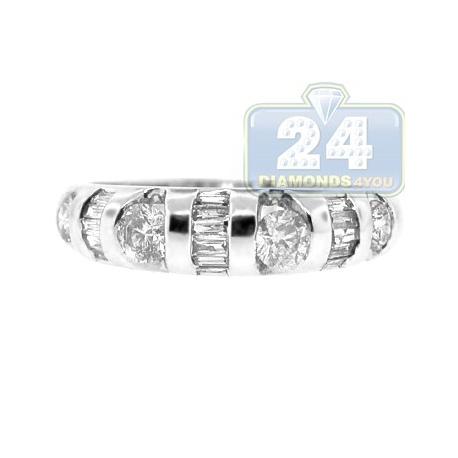 14K White Gold 0.70 ct Round Baguette Cut Diamond Womens Ring