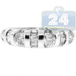 14K White Gold 0.70 ct Round Baguette Diamond Womens Ring