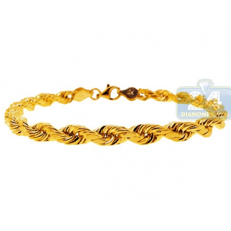 Real Italian 10K Yellow Gold Hollow Rope Mens Bracelet 5mm 8""