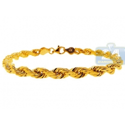 10K Yellow Gold Hollow Rope Mens Bracelet 5 mm 8 Inches