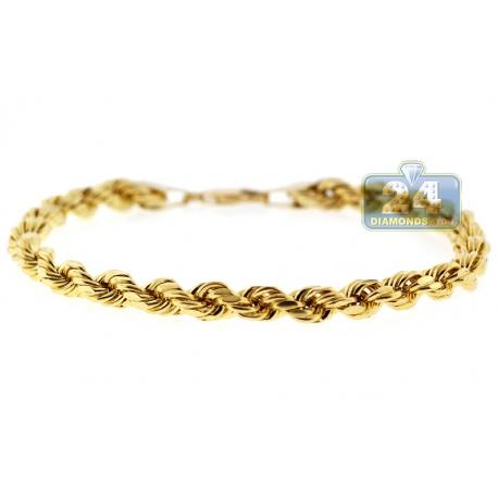 "Real Italian 10K Yellow Gold Hollow Rope Mens Bracelet 5mm 8.5"""