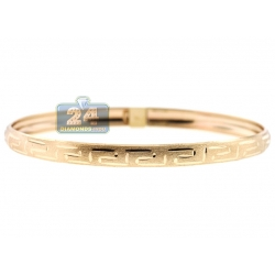 Real 10K Yellow Gold Greek Key Womens Bangle Bracelet 6mm 7""