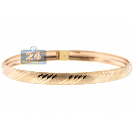 "Real 10K Yellow Gold Lined Diamond-Cut Bangle Bracelet 6mm 7"""