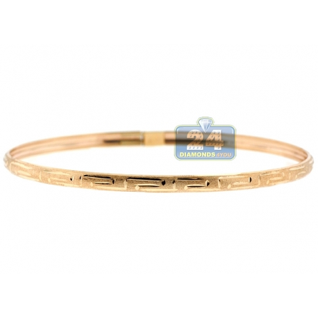 Real 10K Yellow Gold Greek Key Womens Bangle Bracelet 4mm 7""