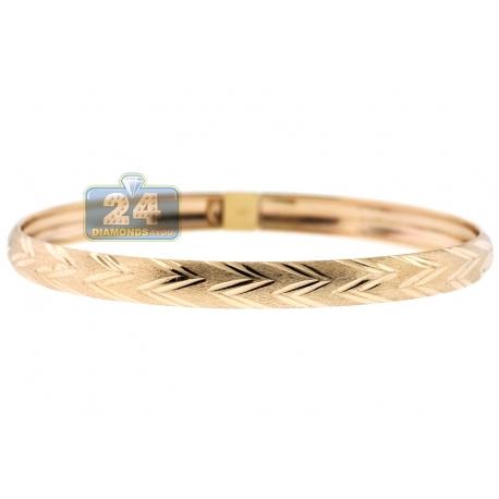 "Real 10K Yellow Gold Zig Zag Pattern Womens Bangle Bracelet 7"""