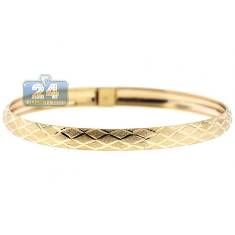 Real 10K Yellow Gold Mesh Pattern Womens Bangle Bracelet 7""
