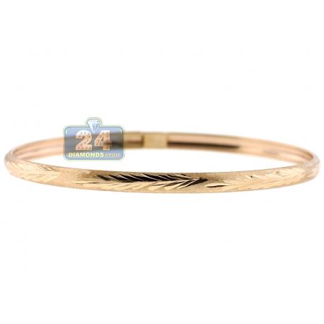 "Real 10K Yellow Gold Tree Diamond Cut Womens Bangle Bracelet 7"""