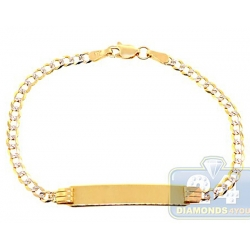 Solid 10K Yellow Gold Cuban Diamond Cut Baby Kids ID Bracelet 6""