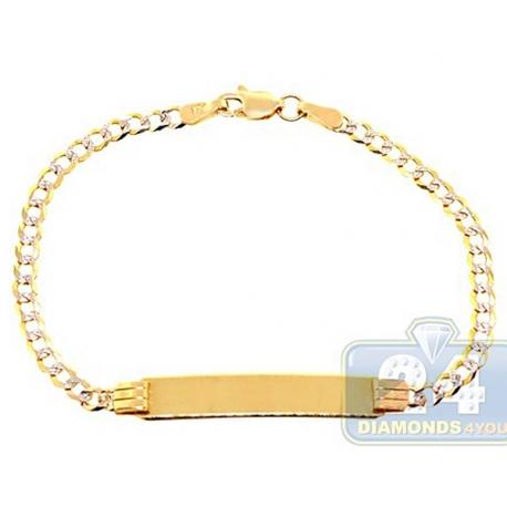 "Solid 10K Yellow Gold Cuban Diamond Cut Baby Kids ID Bracelet 6"""